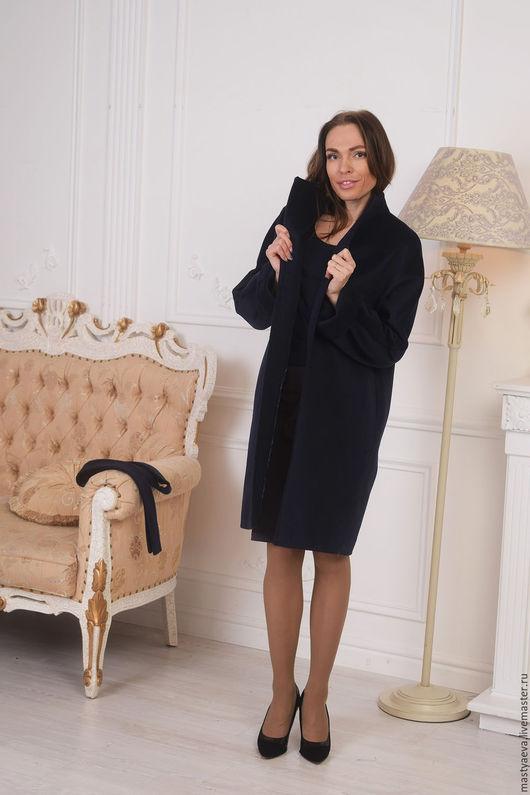 """Верхняя одежда ручной работы. Ярмарка Мастеров - ручная работа. Купить Пальто демисезонное """"Софи"""". Handmade. Тёмно-синий"""