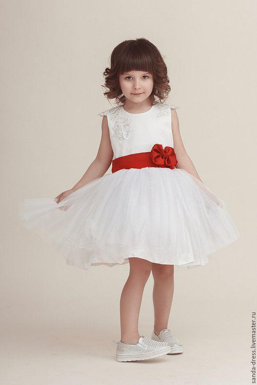 """Одежда для девочек, ручной работы. Ярмарка Мастеров - ручная работа. Купить Платье""""Камилла"""". Handmade. Белый, алый, бантик, праздничное платье"""