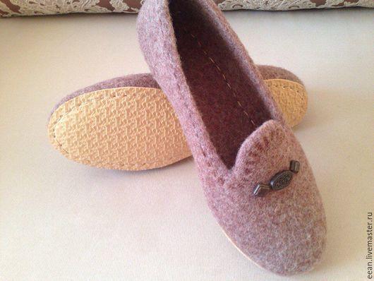 """Обувь ручной работы. Ярмарка Мастеров - ручная работа. Купить Валяные тапочки """"Какао"""". Handmade. Валяные тапочки, домашняя обувь"""