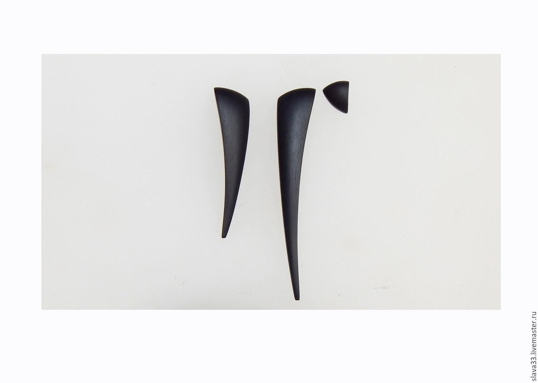 Asymmetric earrings made of black wood, Earrings, Vladimir,  Фото №1