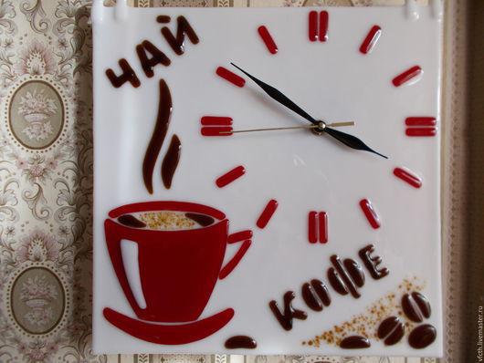 """Часы для дома ручной работы. Ярмарка Мастеров - ручная работа. Купить Часы """" ЧАЙ КОФЕ """". Handmade. Разноцветный"""