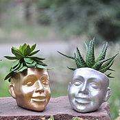 Цветы и флористика handmade. Livemaster - original item Mini-pot for the cactus Face of concrete, creative pots in the Loft. Handmade.