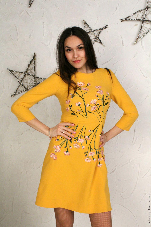 Вышивка на желтом платье