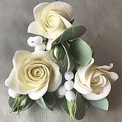Свадебный салон handmade. Livemaster - original item Studs with white roses, eucalyptus and snow berry. Handmade.