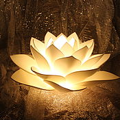 Для дома и интерьера handmade. Livemaster - original item White Lotus Lamp night light Golden handmade gift. Handmade.