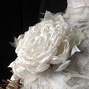 Украшения handmade. Livemaster - original item White fabric flower, brooch hairpin.. Handmade.