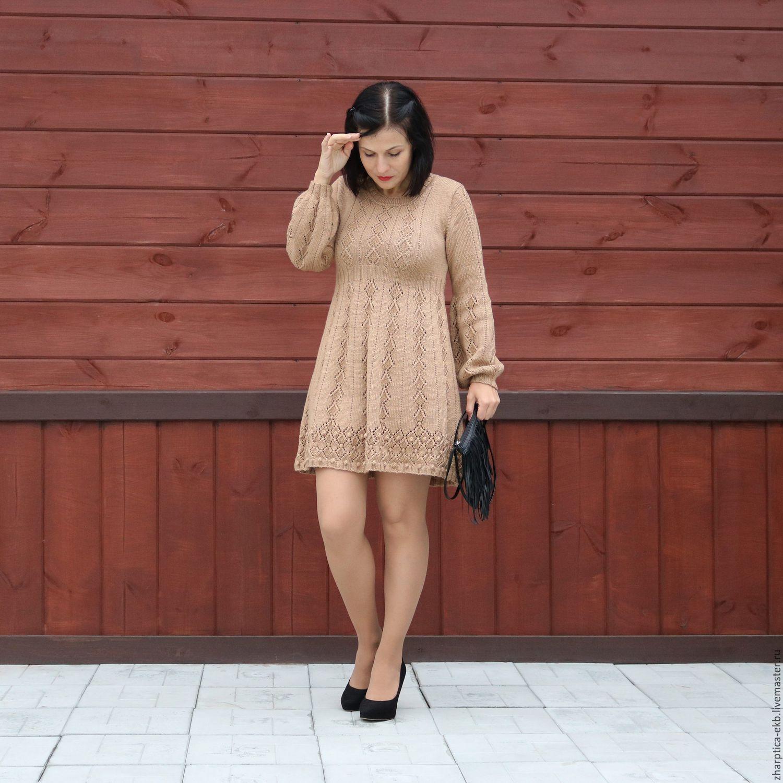 вязаное платье с пышными рукавами купить в интернет магазине на