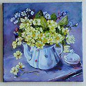 "handmade. Livemaster - original item Картина. натюрморт с цветами"".Весенний букетик в чайничке"".примулы. Handmade."