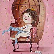Картины и панно ручной работы. Ярмарка Мастеров - ручная работа Картина маслом  Некоторые девочки рождаются принцессами. Розовая. Handmade.