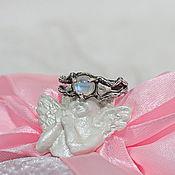 Украшения handmade. Livemaster - original item Silver ring with the texture of wood with a moonstone. Handmade.