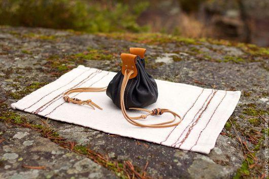 Персональные подарки ручной работы. Ярмарка Мастеров - ручная работа. Купить Кожаный кисет от кострового набора №8.3 (черный). Handmade.