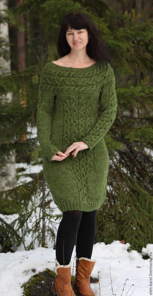 Платья ручной работы. Ярмарка Мастеров - ручная работа. Купить Зима цвета Хаки Теплое Платье. Handmade. Хаки