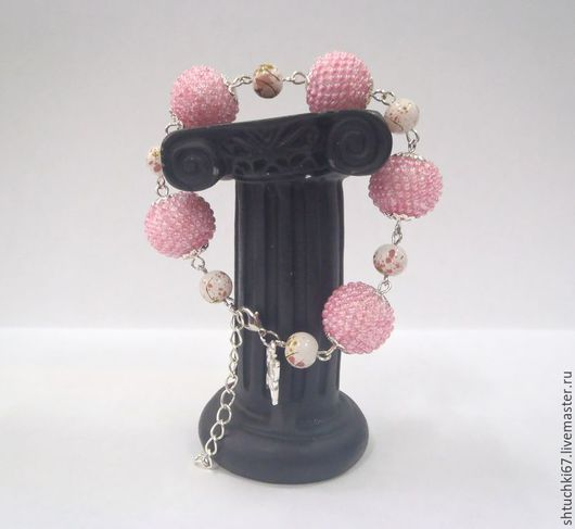 """Браслеты ручной работы. Ярмарка Мастеров - ручная работа. Купить Браслет """"Весна"""". Handmade. Розовый, украшение, вязаные бусины"""