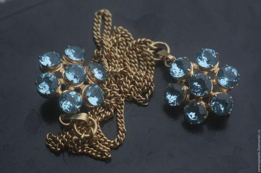 Винтажные украшения. Ярмарка Мастеров - ручная работа. Купить Брошь двойная Голубые цветы. Handmade. Голубой, брошь винтаж