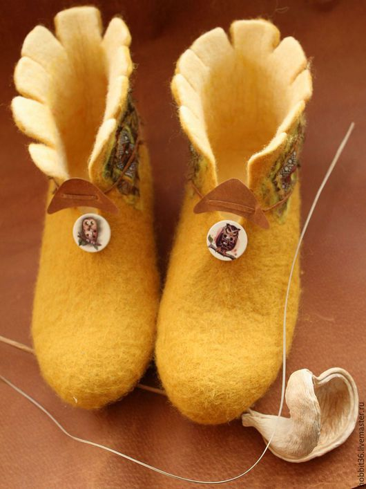"""Обувь ручной работы. Ярмарка Мастеров - ручная работа. Купить Валенки """"Совы на горчичном поле"""". Handmade. Оранжевый, валенки для дома"""