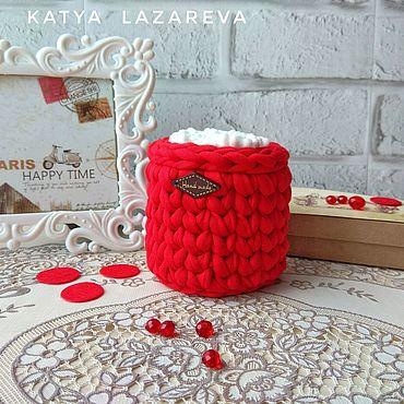 Для дома и интерьера ручной работы. Ярмарка Мастеров - ручная работа Красный. Баночка для ватных палочек из трикотажной пряжи красная. Handmade.