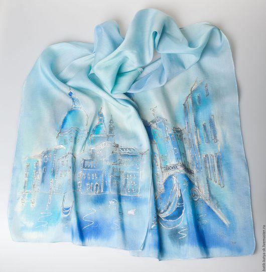 """Шарфы и шарфики ручной работы. Ярмарка Мастеров - ручная работа. Купить Батик шарф """"Венеция"""". Handmade. Голубой, городской пейзаж"""