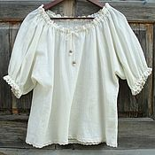 Одежда ручной работы. Ярмарка Мастеров - ручная работа Блузка летняя в деревенском стиле + пояс. Handmade.