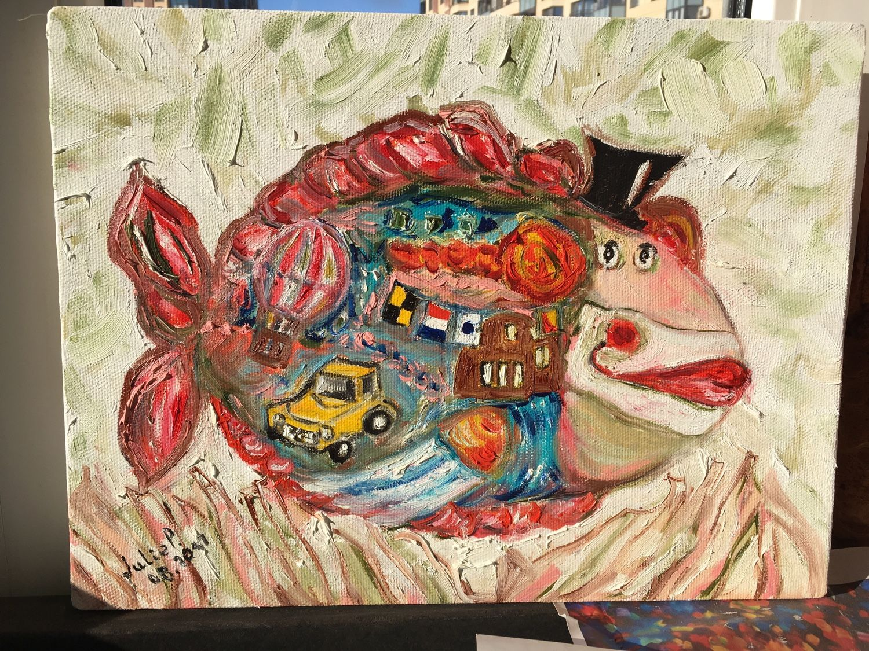 """Фантазийные сюжеты ручной работы. Ярмарка Мастеров - ручная работа. Купить Картина """"Рыба - клоун"""". Handmade. Рыба, дом, морские"""