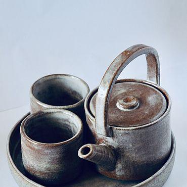 Посуда ручной работы. Ярмарка Мастеров - ручная работа Чайник и чашки Геометрия. Handmade.