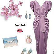 Одежда handmade. Livemaster - original item Evening dress purple in satin with V-neck. Handmade.