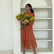 Одежда handmade. Livemaster - original item Orange dress in a small flower. Handmade.