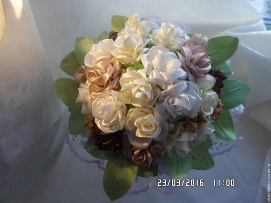 Свадебные цветы ручной работы. Ярмарка Мастеров - ручная работа. Купить Букет невесты  из атласных лент. Handmade. Комбинированный, букет
