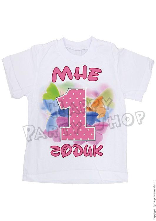 Одежда для девочек, ручной работы. Ярмарка Мастеров - ручная работа. Купить Детская именная футболка на 1 годик. Handmade. Белый