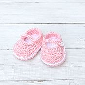 Работы для детей, handmade. Livemaster - original item Booties shoes for girls pink. Handmade.
