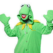 Cosplay costumes handmade. Livemaster - original item Kermit frog Kigurumi - Custom Handmade - Anti-pill Fleece Pyjamas. Handmade.