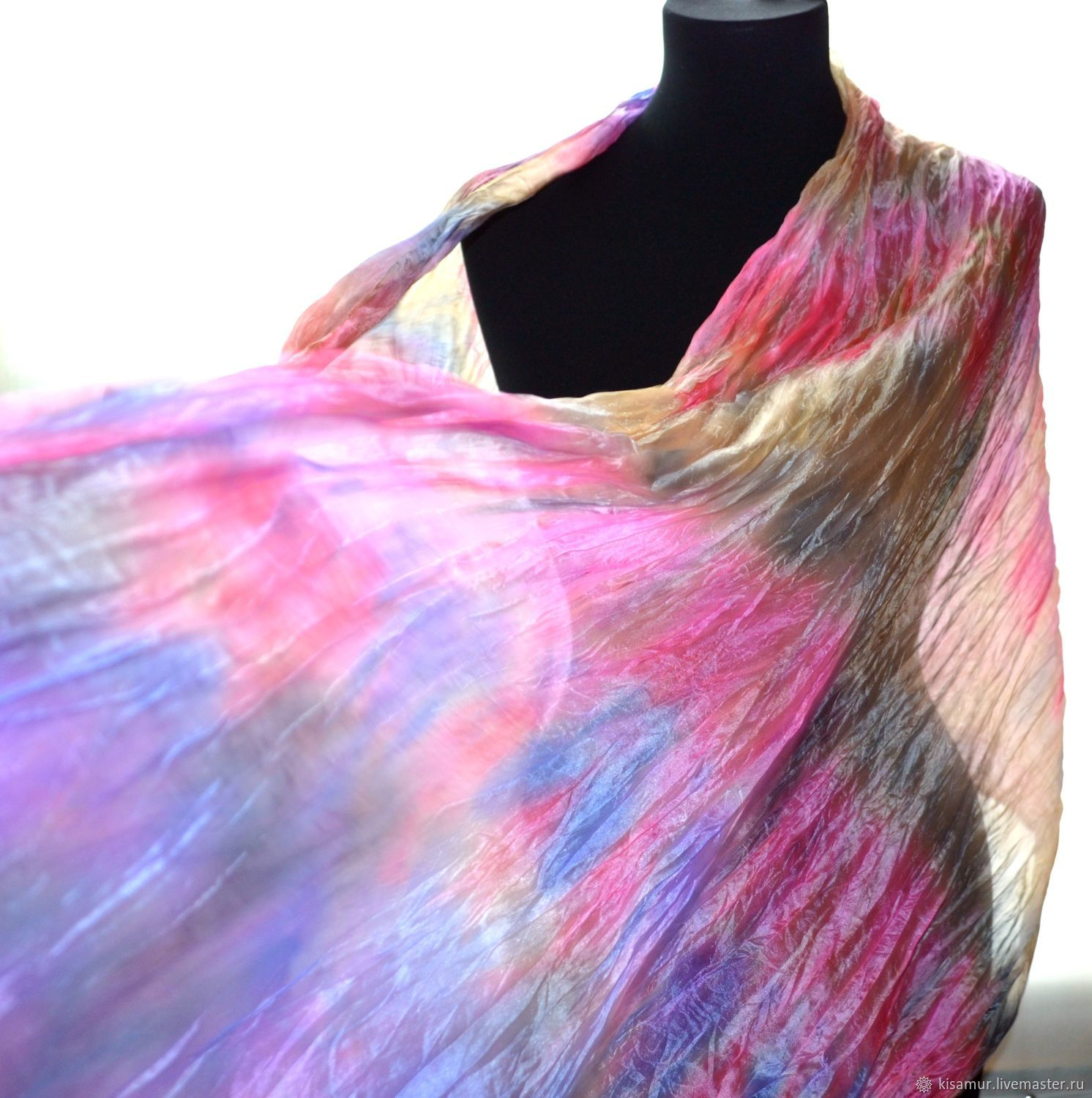 Bright silk scarf stole women's pink blue yellow, Scarves, Vyazma,  Фото №1