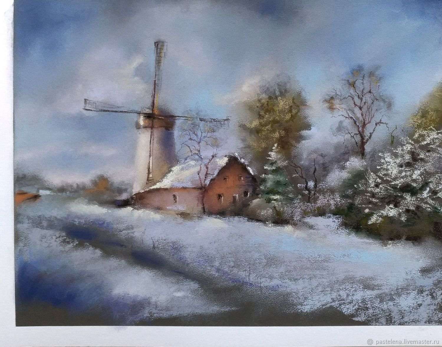Painting pastel Dutch landscape (blue ochre winter mill), Pictures, ,  Фото №1