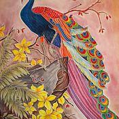 """Картины и панно ручной работы. Ярмарка Мастеров - ручная работа Панно батик """"Павлин"""" шелковая картина. Handmade."""