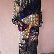 Одежда ручной работы. Ярмарка Мастеров - ручная работа Шелковый халат с бахромой Портрет девушки. Handmade.