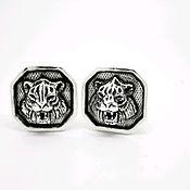 Украшения handmade. Livemaster - original item Silver cufflinks TIGERS. Handmade.