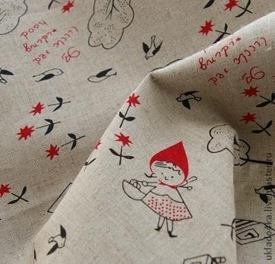 """Шитье ручной работы. Ярмарка Мастеров - ручная работа. Купить Ткань - лен """"Красная шапочка"""". Handmade. Бежевый, лен, ткань"""