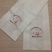 Пакеты ручной работы. Ярмарка Мастеров - ручная работа Крафт пакеты белые с надписью. Handmade.