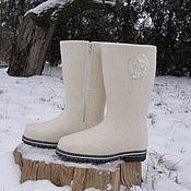 """Обувь ручной работы. Ярмарка Мастеров - ручная работа Сапожки """"Белые"""". Handmade."""