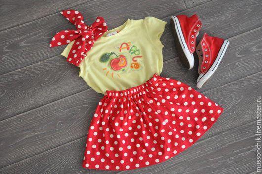 Одежда для девочек, ручной работы. Ярмарка Мастеров - ручная работа. Купить Детская юбочка в горох. Handmade. Ярко-красный, в горошек