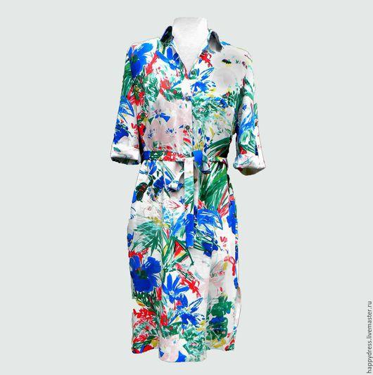 Платья ручной работы. Ярмарка Мастеров - ручная работа. Купить Платье-рубашка. Handmade. Купить летнее платье, тропики, белый