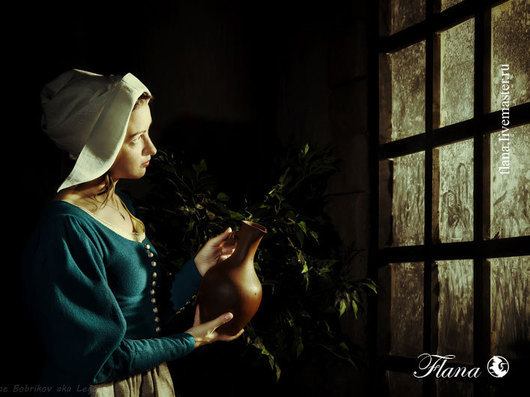 Чепчик льняной, конец 15 века. Индивидуальный пошив, Флана