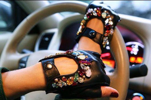 """Варежки, митенки, перчатки ручной работы. Ярмарка Мастеров - ручная работа. Купить """"Блеск"""" Автомобильные перчатки. Handmade. Черный, кожа"""