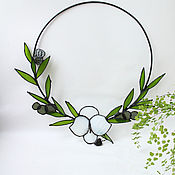 Для дома и интерьера handmade. Livemaster - original item interior wreath. Flowers of glass. Orchid. Tiffany stained glass panel. Handmade.
