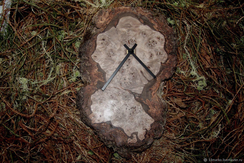 Часы: Часы настенные из капа березы, Часы классические, Москва,  Фото №1