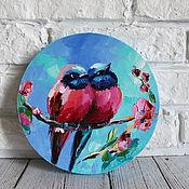 Картины и панно handmade. Livemaster - original item Oil painting on canvas with birds 20/20 cm.. Handmade.
