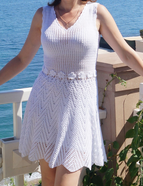 9f30ce0fe11 ручной работы. Ярмарка Мастеров - ручная работа. Купить Белое платье  вязаное крючком.