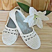 Обувь ручной работы. Ярмарка Мастеров - ручная работа Вязаная обувь...Балетки... Классика (3). Handmade.