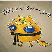 Одежда ручной работы. Ярмарка Мастеров - ручная работа Футболки со злыми котами. Handmade.