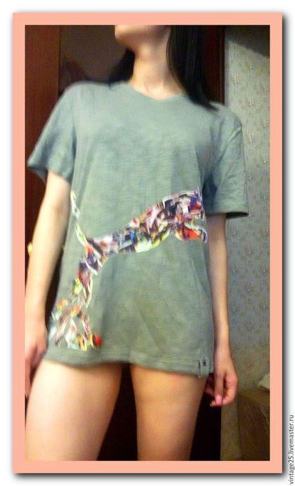 Одежда. Ярмарка Мастеров - ручная работа. Купить Винтаж Новая с биркой футболка в стиле пэчворк. Handmade. Комбинированный, винтажная футболка