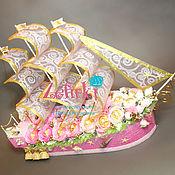 Сувениры и подарки ручной работы. Ярмарка Мастеров - ручная работа Корабль из конфет подарок на свадьбу свадебный корабль. Handmade.